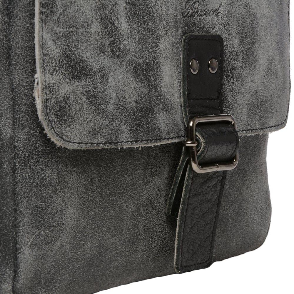 43271c061c32 Mens Buffed Leather Medium Messenger Bag Grey  Black   5711