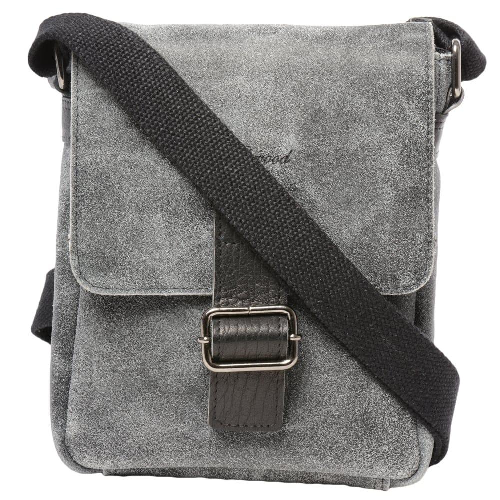 4d25dd3a63 Mens Buffed Leather Small Messenger Bag Grey  Black   5710