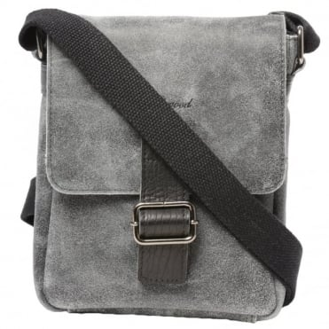 Mens Buffed Leather Small Messenger Bag Grey/ Black : 5710