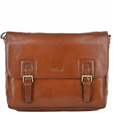 Mens Double Clasp Laptop Satchel Chestnut/vt : Jasper