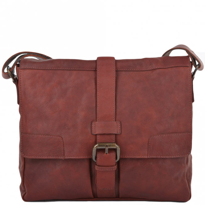 Ashwood Mens Four Pocket Leather Messenger Bag Dk/rust : Cyrus