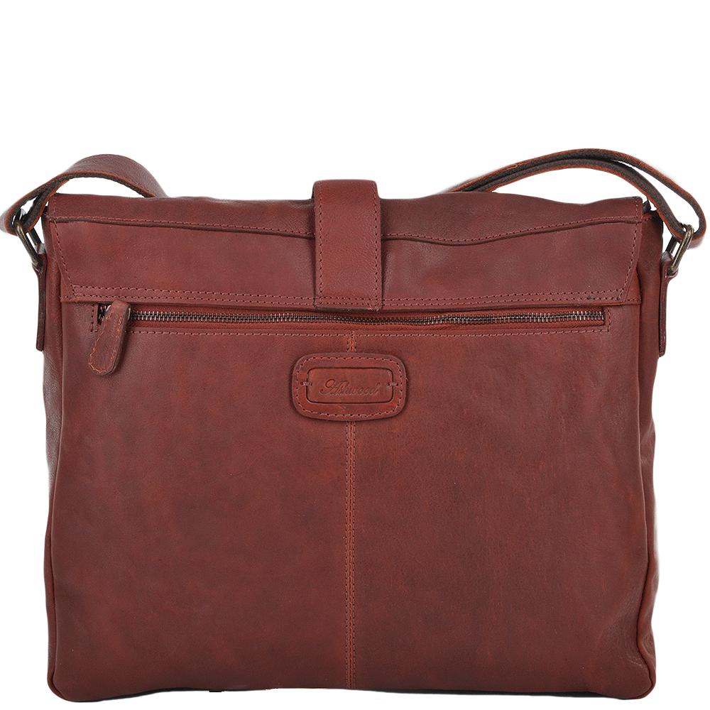 Mens Four Pocket Leather Messenger Bag Dk rust   Cyrus  84f2bfeffb1eb