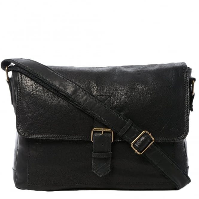 Mens Large Leather Messenger Bag Black 8686 Mens
