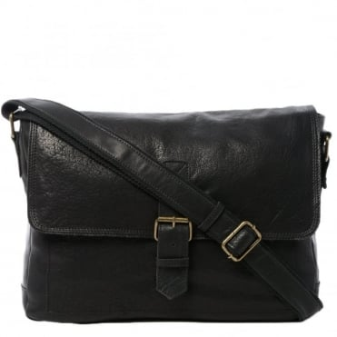 Mens Large Leather Messenger Bag Black : 8686