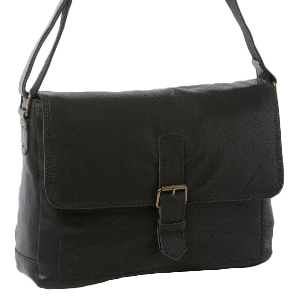 Mens Large Leather Messenger Bag Black   8686  3feda04d948cf