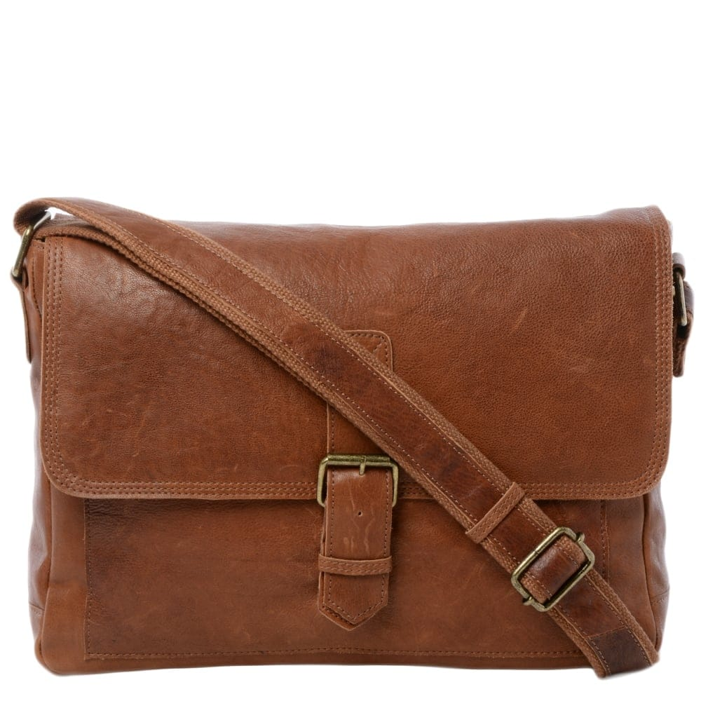 4ec3d3802e Mens Large Leather Messenger Bag Tan   8686