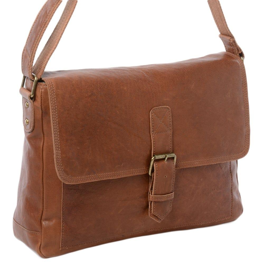 4ec3d3802e Mens Large Leather Messenger Bag Tan   8686