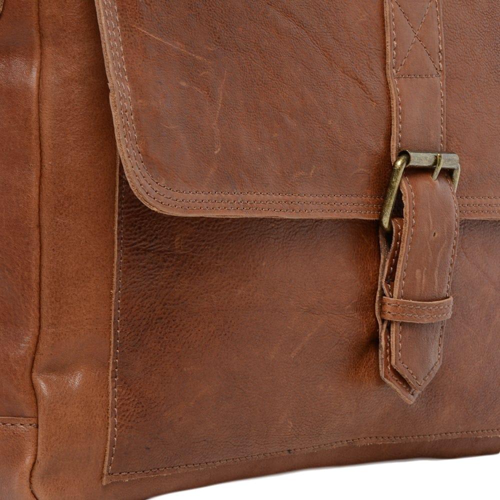 Mens Large Leather Messenger Bag Tan   8686  ea73d9589b4bf
