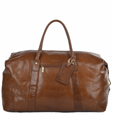Mens Large Vegetable Tanned Leather Travel Holdall Chestnut : Harold