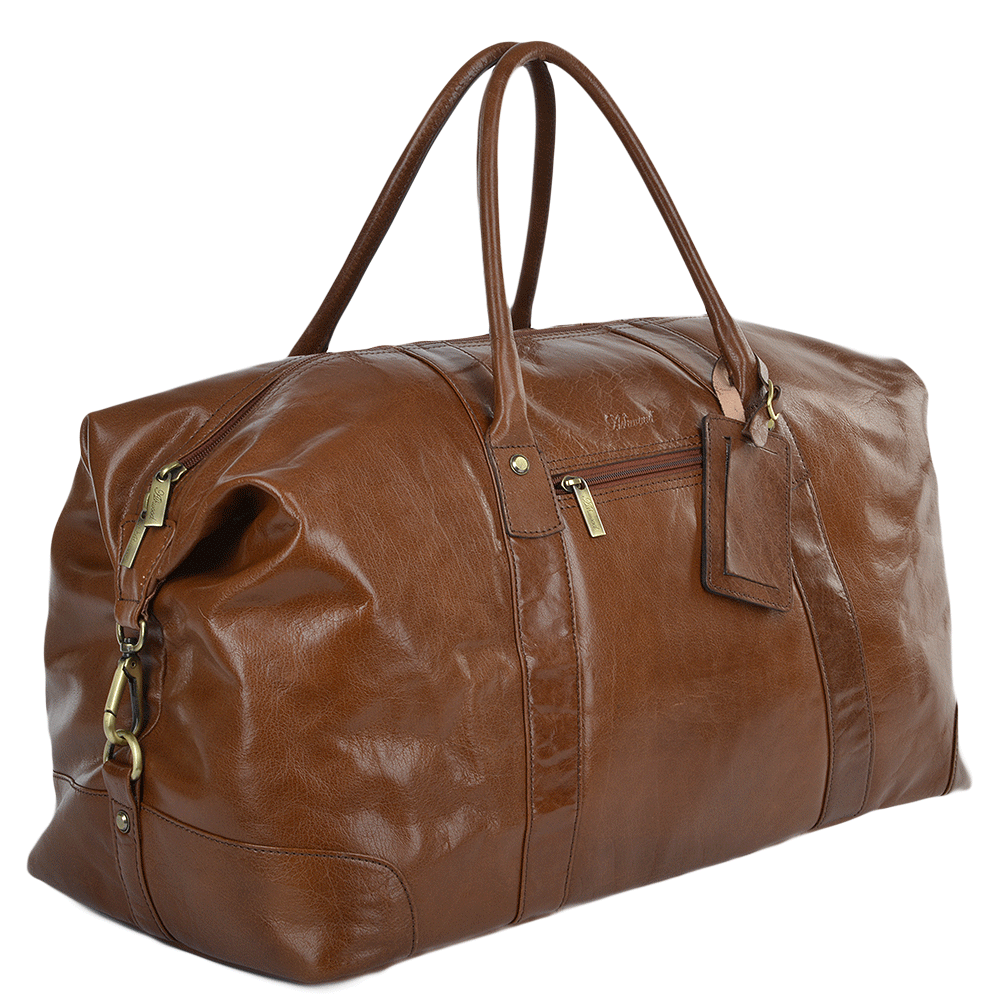 Mens Large Vegetable Tanned Leather Travel Holdall