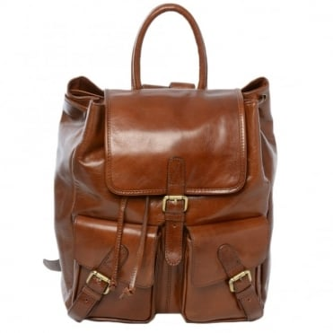 Mens Leather Backpack - Rucksack Chestnut
