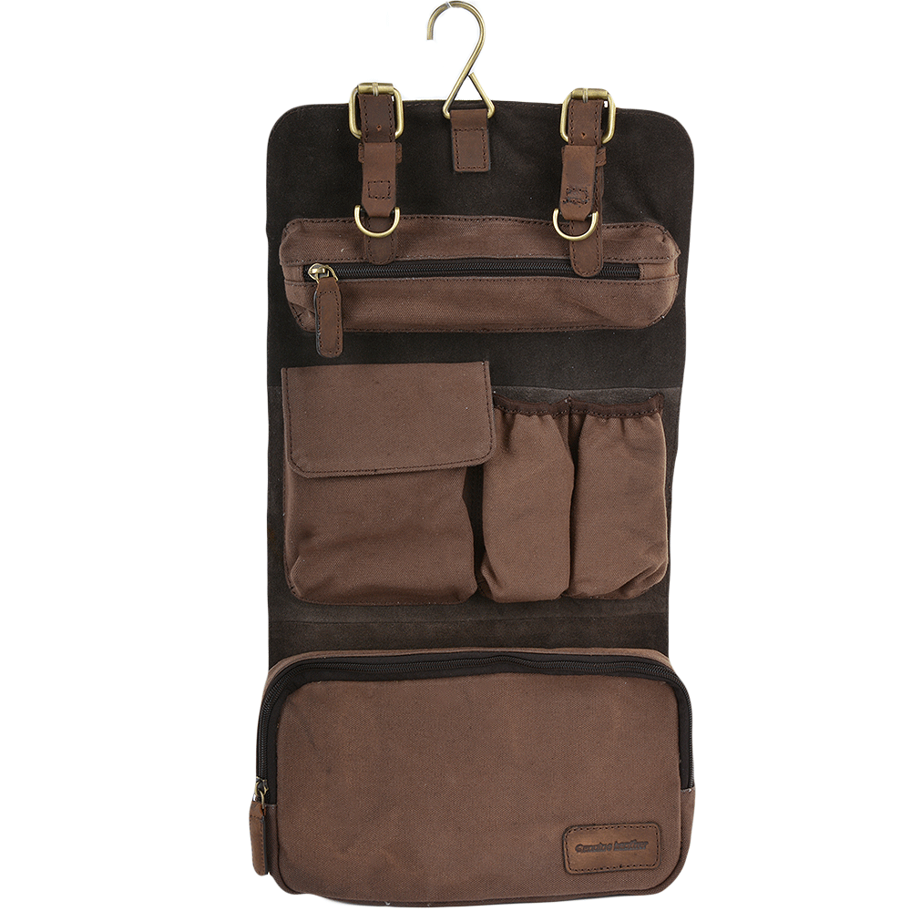 cdc2fae85c3 Mens Leather   Canvas Hanging Toiletry Bag Mud mud   7010   Mens ...