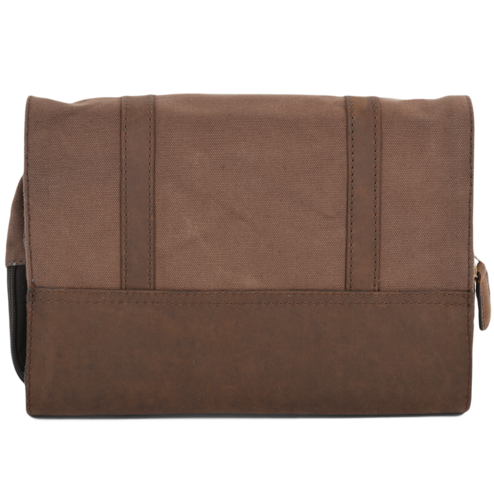 5b5956494 Mens Leather & Canvas Hanging Toiletry Bag Mud/mud : 7010 | Mens ...