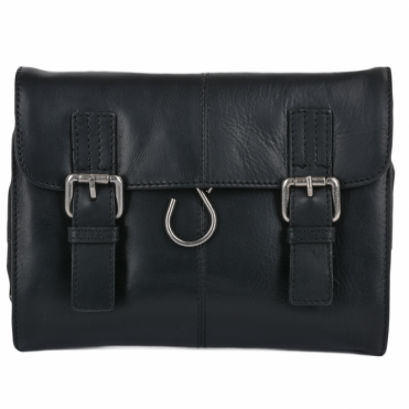 Mens Leather Hanging Toiletry Bag Black : Phil