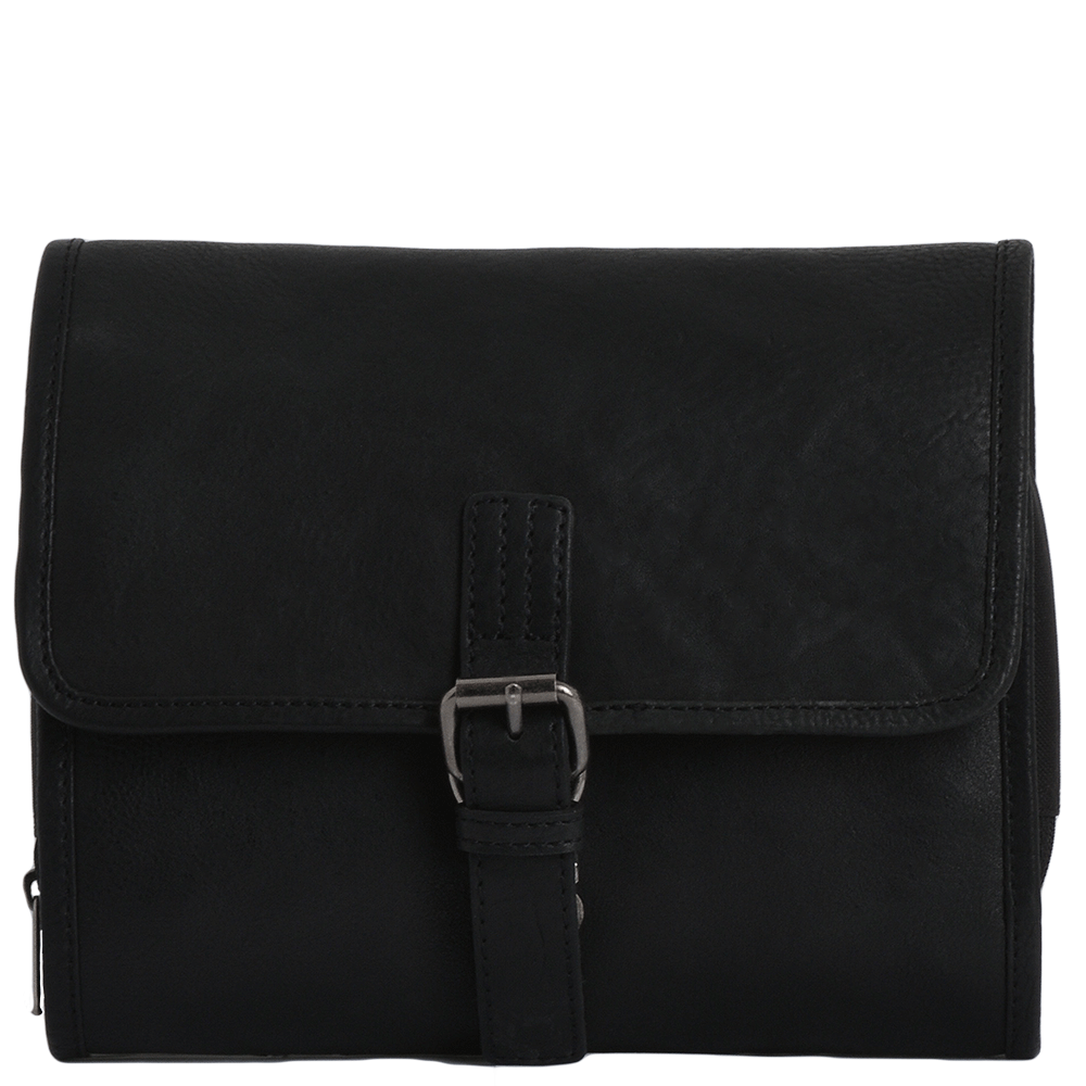 02d7a7fd46f1 Mens Leather Hanging Toiletry Bag Black : Reed