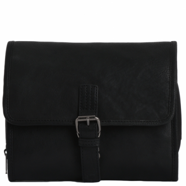 Mens Leather Hanging Toiletry Bag Black : Reed
