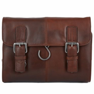 Mens Leather Hanging Toiletry Bag Tan : Phil