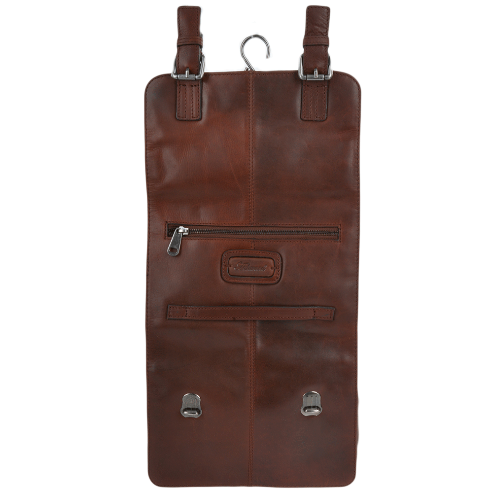 Mens Leather Hanging Toiletry Bag Tan Phil Men Leather