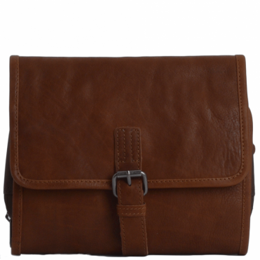 Mens Leather Hanging Toiletry Bag Tan : Reed