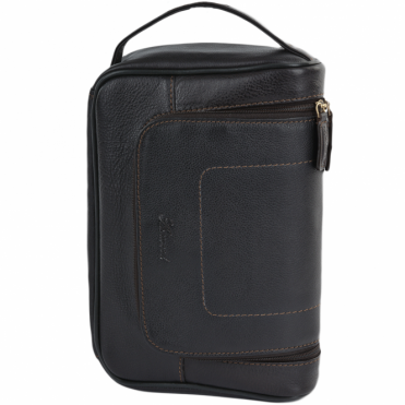Mens Leather Hanging Wash Bag Brown : 89145