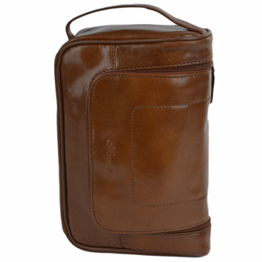 Mens Leather Hanging Wash Bag Chestnut : 89145