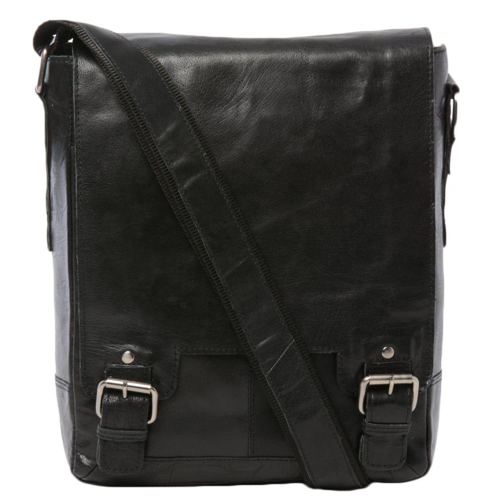 Mens Leather Ipad Messenger Bag Black Crum 8342 Mens