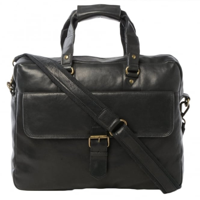 Ashwood Mens Leather Laptop Briefcase Black : 8683
