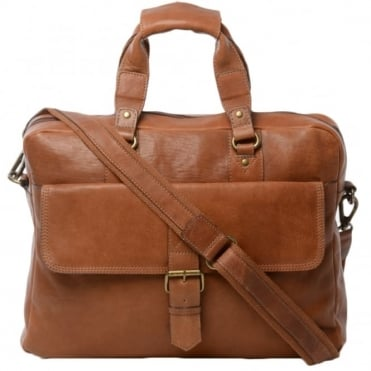 Mens Leather Laptop Briefcase Tan : 8683