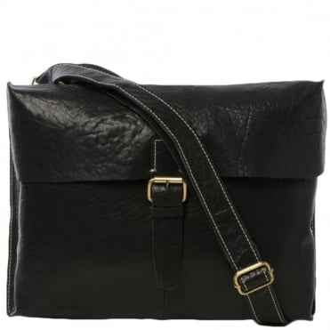 Mens Leather Messenger Bag Black : Bank