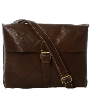 Mens Leather Messenger Bag Brown : Bank