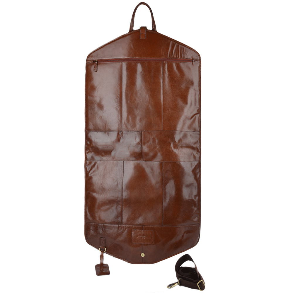 Mens Leather Suit Carrier Chestnut Harper Leather Luggage