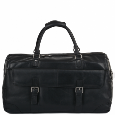 Mens Leather Travel Bag Black : Francis