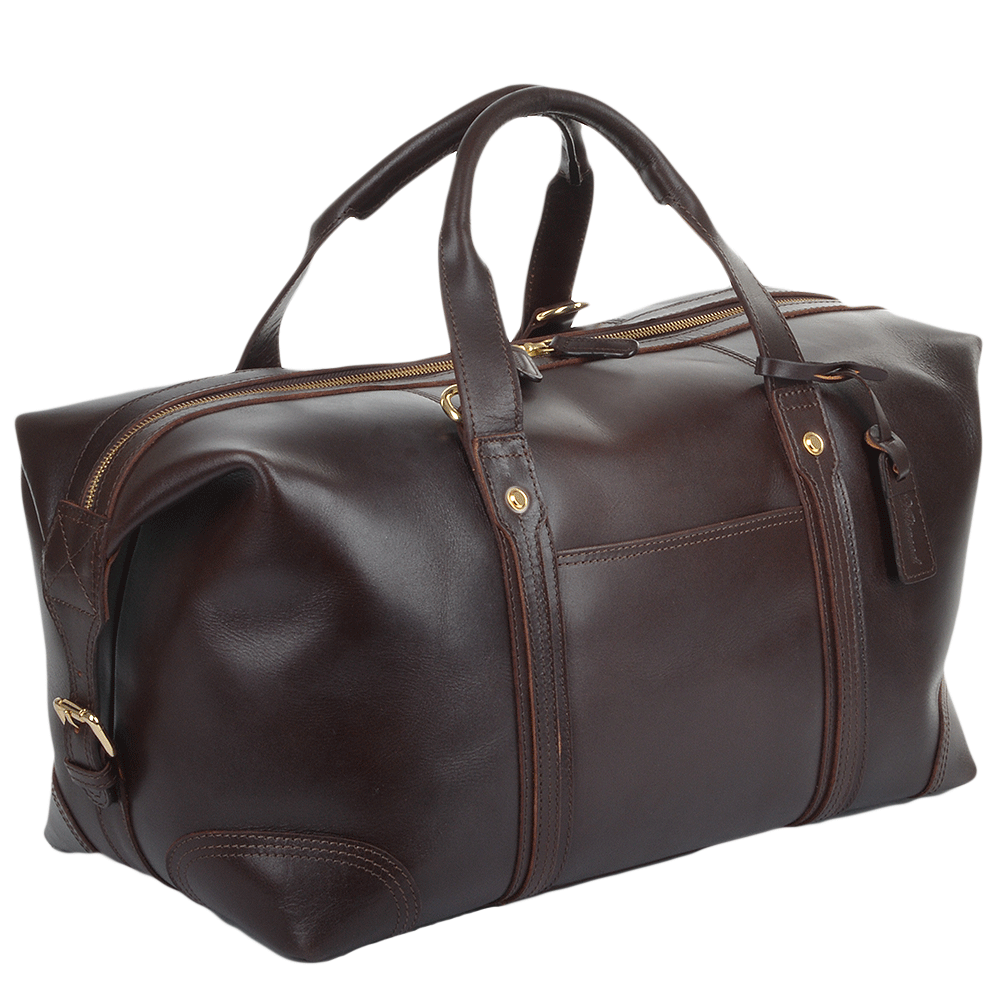 Mens Leather Travel Holdall Brown Stanley Leather Luggage