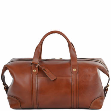 Mens Leather Travel Holdall Cognac : Stanley
