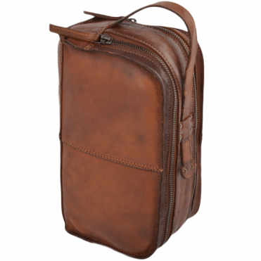 Mens Leather Vintage Wash Bag Rust : 7998
