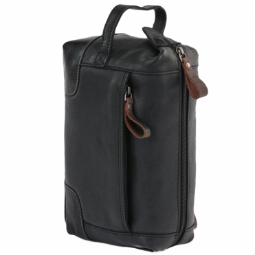 Mens Leather Wash Bag Black/mud : 4557