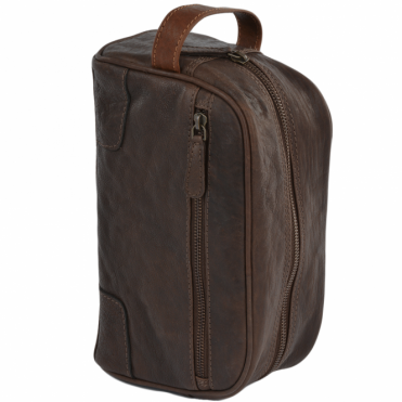 Mens Leather Wash Bag Brn/cog : Duff