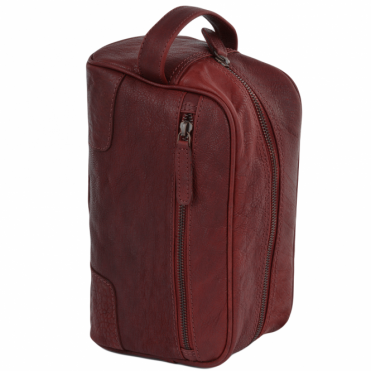 Mens Leather Wash Bag Dk/rust : Duff