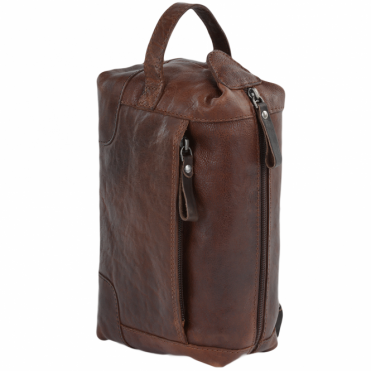 Mens Leather Wash Bag Tan/brown : 4557