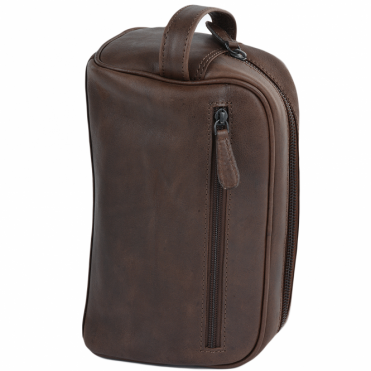 Mens Leather Washbag Brown : Gonzalo