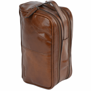 Mens Leather Washbag Chestnut/vt : 2012