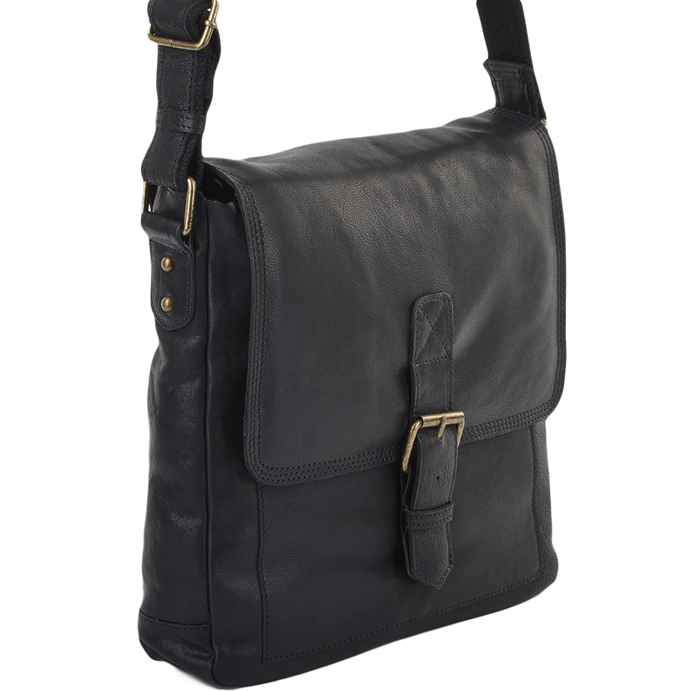 Mens Medium Leather Messenger Bag Black 8685 Mens