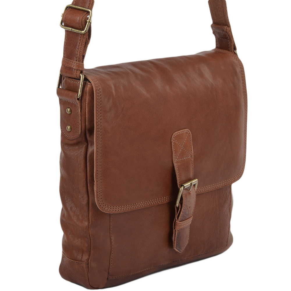 Mens Medium Leather Messenger Bag Tan : 8685 | Mens Leather Bags