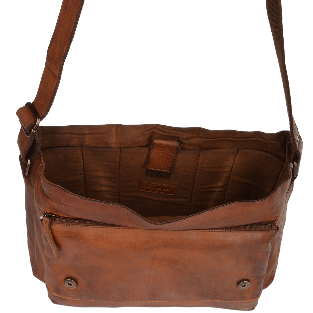 Mens Medium Leather Messenger Bag With Laptop Sleeve 1336