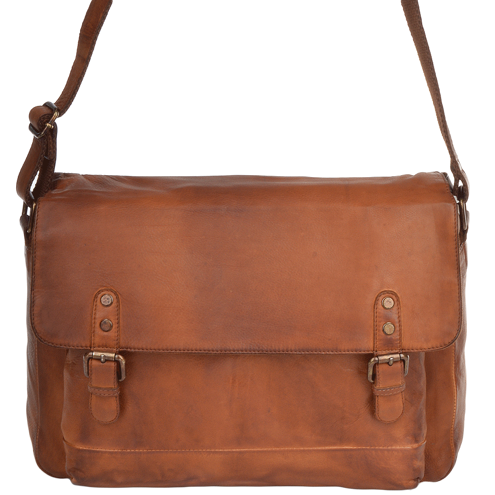 d94281793ada Mens Medium Leather Vintage Wash Messenger Bag With Laptop Sleeve Rust    1336