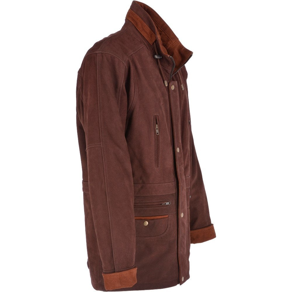 Ashwood Mens Nubuck Leather Coat Brown Tan Aberdeen Safari 2 Mens