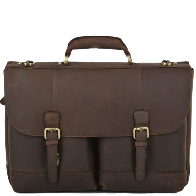 Ashwood Mens Single Gusset Heavy Duty Laptop Briefcase Mud/mud : Henry