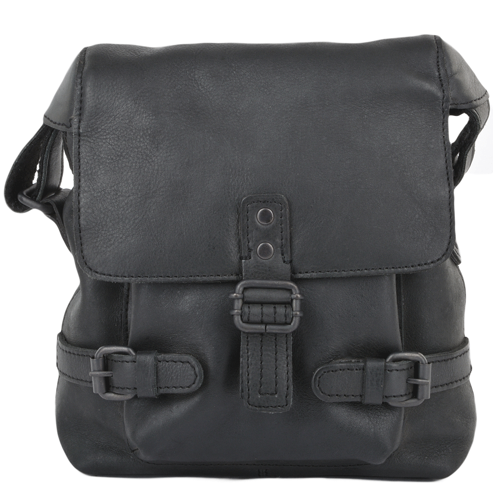 Mens Small Leather Flight Bag Black Junior Mens