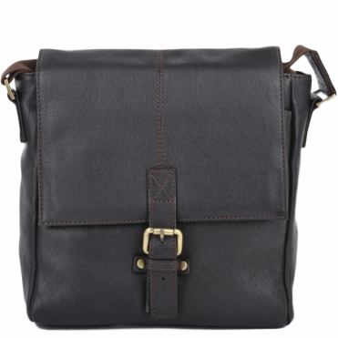 Mens Small Leather Flight Side Bag Brown/tum : Murphy