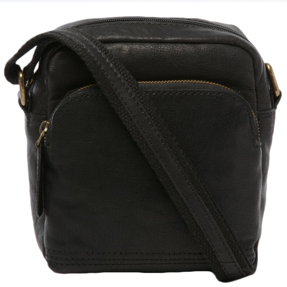 Mens Small Leather Travel Bag Black 8681 Mens Leather Bags